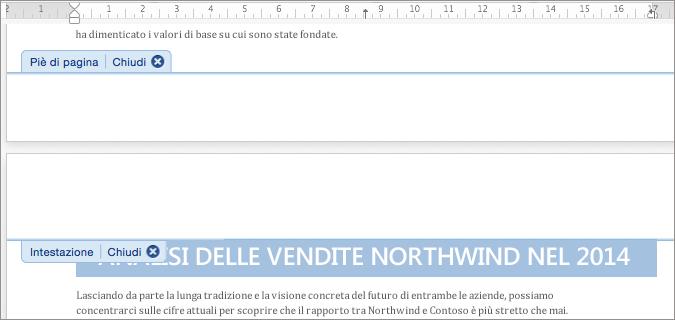 Fare doppio clic nell'area di un'intestazione o di un piè di pagina per aprirla per le modifiche.