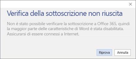 """Screenshot del messaggio di errore """"Verifica della sottoscrizione non riuscita"""""""