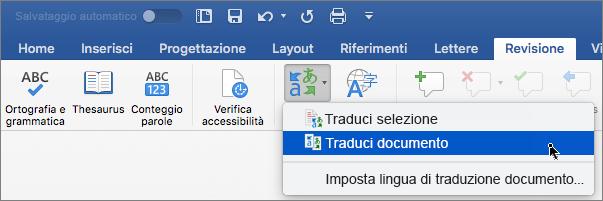 Scheda Revisione con Traduci documento evidenziato