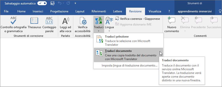 Barra multifunzione di Word con l'opzione Traduci documento