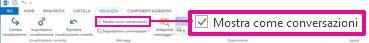 Comando Mostra come conversazioni nella barra multifunzione