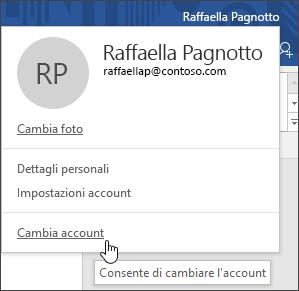 Acquisizione di schermata che mostra come cambiare account in un'applicazione desktop di Office