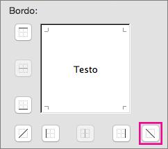 Opzione bordo diagonale dall'alto a sinistra al basso a destra