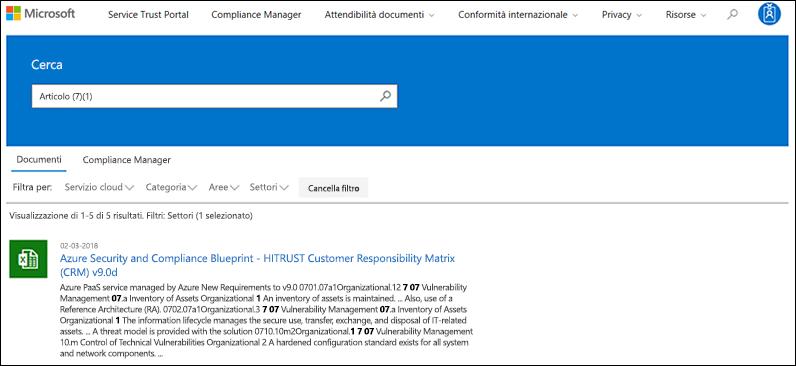 Servizio protezione portale - ricerca ai documenti con filtro applicato