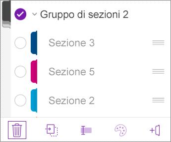 Elimina gruppo di sezioni in OneNote per iOS