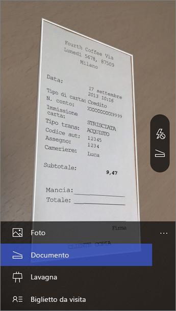 Quando Office Lens si avvia, scegliere la modalità.