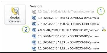 Cronologia delle versioni nella visualizzazione Backstage di un documento di Microsoft Word