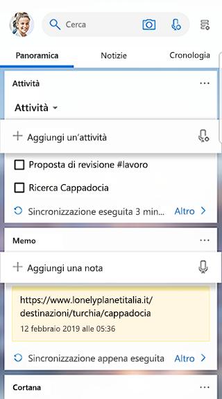 Screenshot che mostra la scheda attività nel feed di avvio
