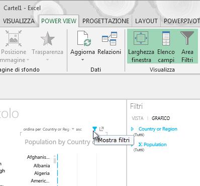 L'icona Filtri compare quando si passa il mouse su una visualizzazione di Power View