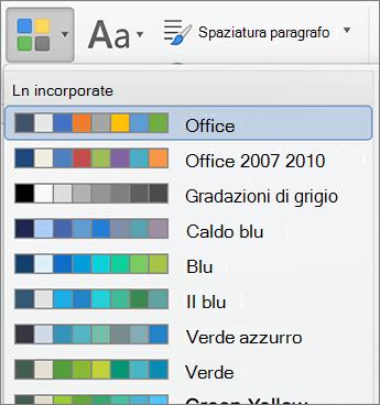 Opzioni di colore quando si fa clic sul pulsante di colori