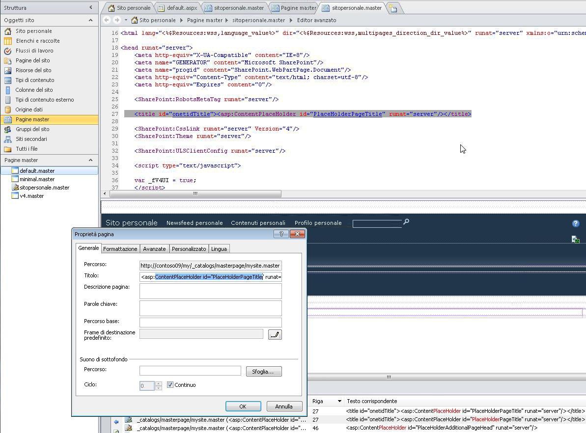 Quando si apre la Pagina master sito personale, è possibile modificare il file e le relative proprietà.
