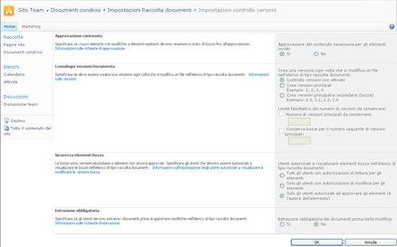 Pagina Impostazioni controllo versioni in cui sono visualizzate le opzioni per l'approvazione