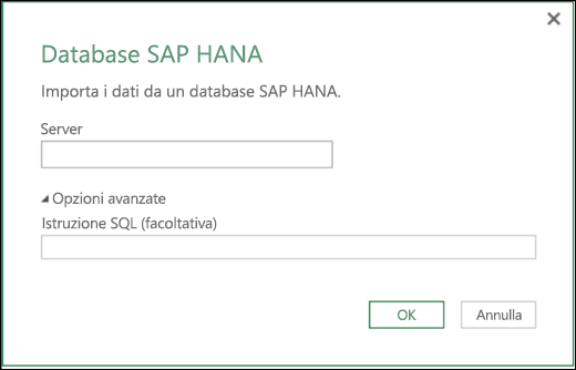 Finestra di dialogo per l'importazione di database SAP HANA in Power BI per Excel