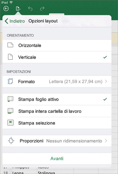 La finestra di dialogo Impostazioni di stampa in Excel per iOS consente di configurare la modalità di stampa del foglio di lavoro.