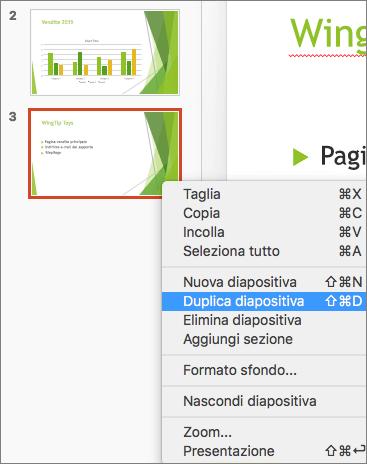 Screenshot che mostra una diapositiva selezionata e l'opzione Duplica diapositiva selezionata nel menu di scelta rapida.