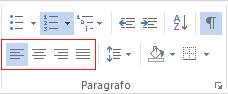 Le diverse opzioni di allineamento del paragrafo sono disponibili nella scheda Home.