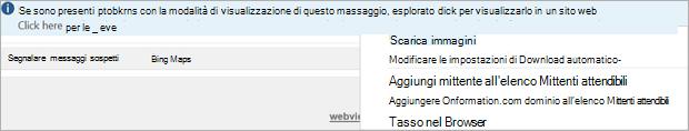 Contrassegni e promemoria per i destinatari sono indicati nella barra informazioni del messaggio.