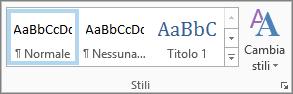 Gruppo Stili nella barra multifunzione Formato testo