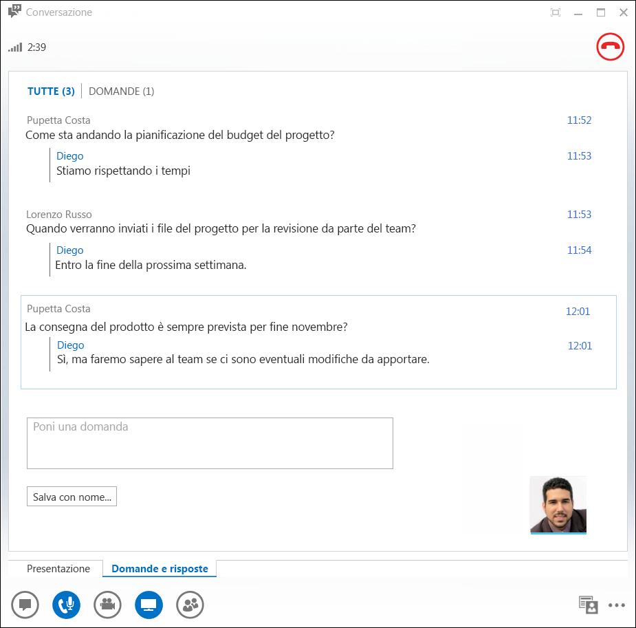 Schermata della finestra di gestione di Domande e risposte
