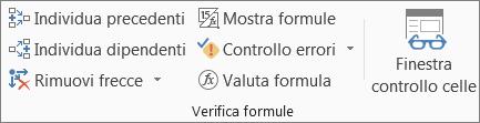 Gruppo Verifica formule della scheda Formule