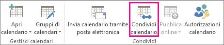 Pulsante Condividi calendario nella scheda Home di Outlook 2013