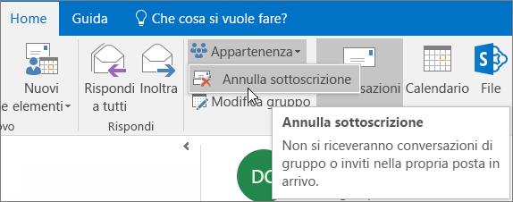 Gli utenti possono annullare la sottoscrizione da un gruppo e non ricevere più messaggi nella posta in arrivo.