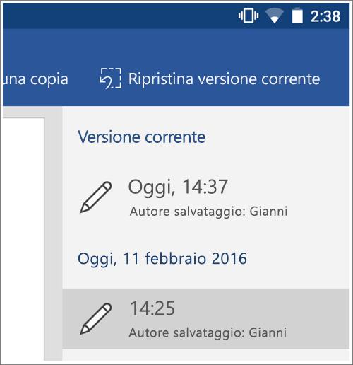 Screenshot che mostra l'opzione cronologia per ripristinare versioni precedenti in Android.