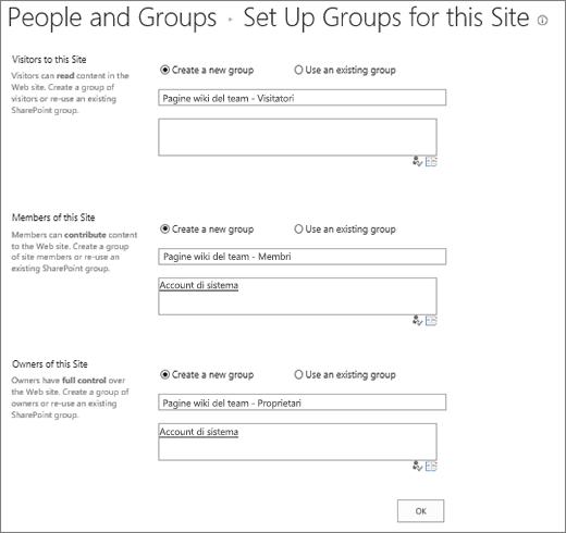 Finestra di dialogo Imposta gruppi per il sito