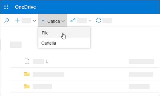 Screenshot che mostra il comando Carica selezionato