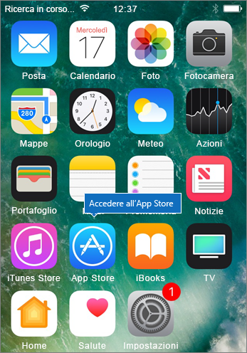Accedere all'App Store per iPhone