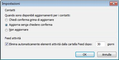 Finestra di dialogo Impostazioni di Outlook Social Connector