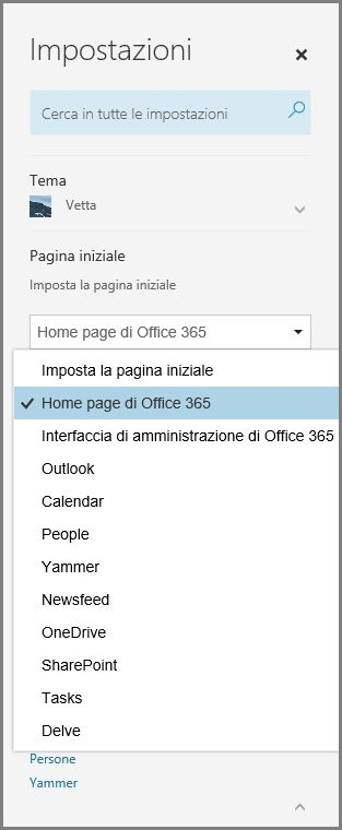 Cambiare la pagina iniziale di Office 365