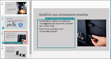 Diapositive con le modifiche evidenziate e contrassegnate