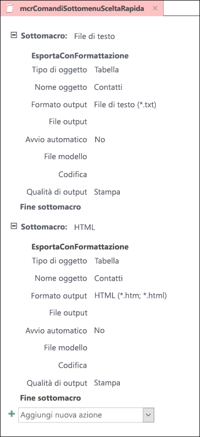 Screenshot di una macro in Access con due sottomacro