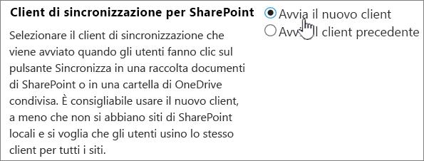 Impostazione di amministrazione per il client di sincronizzazione di OneDrive