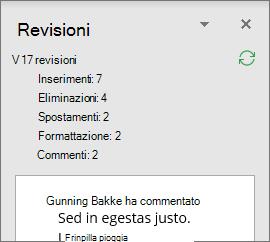 Riquadro Revisione con revisioni dettagliate