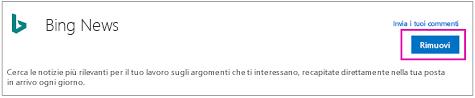Pulsante Rimuovi sul connettore Bing Notizie