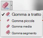 Nel Mac PowerPoint per Office 365 include quattro gomma per l'input penna.