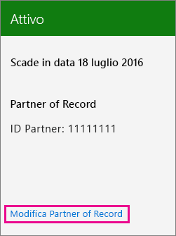 Scegliere Modifica Partner of Record