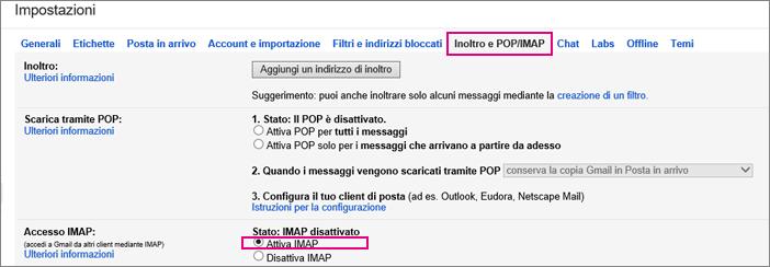 In Gmail scegliere Inoltro e POP/IMAP per selezionare le impostazioni POP.