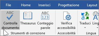 Opzione Controlla documento nella scheda Revisione