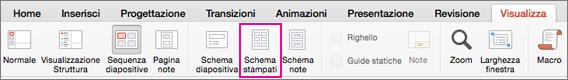Pulsante Schema stampati nella scheda Visualizza