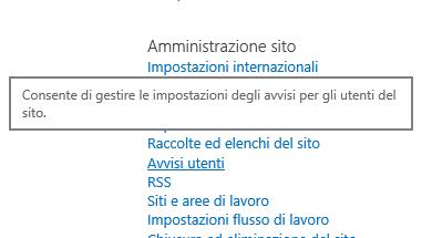 Collegamento Avvisi utenti in Impostazioni sito, Amministrazione sito