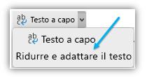 Schermata che mostra il pulsante Ridurre il testo di una pagina sulla barra multifunzione.