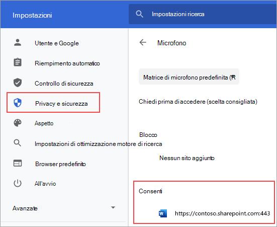 Pagina delle impostazioni delle autorizzazioni per il microfono per Chrome