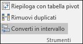 Convertire una tabella di Excel in un intervallo