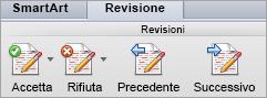 Opzioni in modifiche della scheda revisione