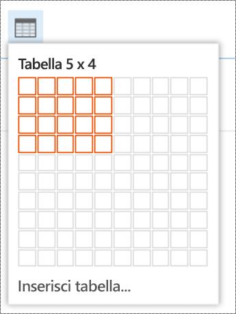 Aggiungere una tabella semplice in Outlook sul Web.