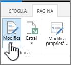 Scheda Pagina con pulsante Modifica evidenziato