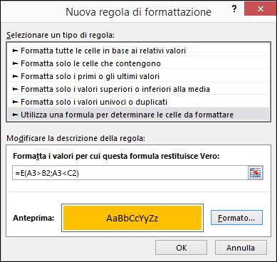 Finestra di dialogo Formattazione condizionale > Modifica regola che mostra il metodo Formula
